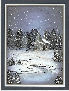 De Stempelwinkel - Designteam : Snowy Christmas night. Rubber Stamped Scene  #RubberStampedScene