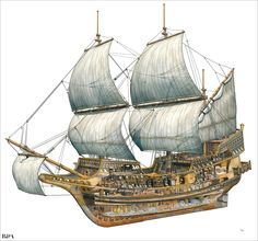 Cutaway galleon by Leonello Calvetti