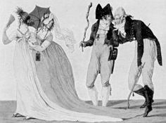 This satirical cartoon spoofs the length of some ladies' trains during the early Regency (ca. 1797). So funny!