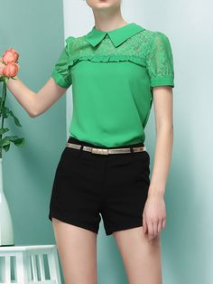 Lace Panelled Chiffon Top in Green | Choies