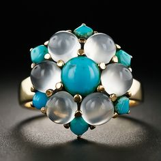Vintage Moonstone and Turquoise Ring - Lang Antiques