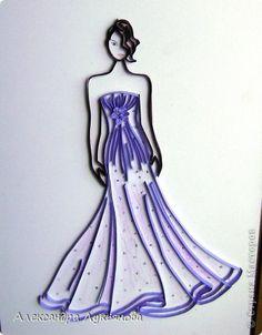 Картина панно рисунок Квиллинг Бальное платье Бумажные полосы фото 4