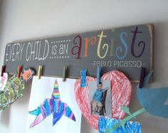 Childrens Art Display Rustic Kids Artwork by FallenTimberCrafts