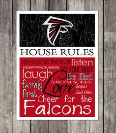 Atlanta Falcons House Rules 4x4.1/2 Fridge Magnet by HarborMagnets