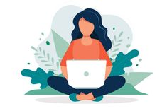 Woman with laptop sitting in nature and leaves. Concept illustration for working, freelancing, studying, education, work from home. Vector illustration in flat cartoon style - Buy this stock vector and explore similar vectors at Adobe Stock Flat Design Illustration, Illustration Art Drawing, People Illustration, Character Illustration, Digital Illustration, Art Drawings, Joker Art, Dibujos Cute, Design Thinking