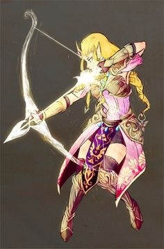Princess Zelda of Hyrule Defending her Kingdom. I love that they made her skilled with a bow and arrow in recent games, I think it's really awesome and at the same time really sexy when a woman is skilled at archery. It just looks like a great combination of elegant and badass.
