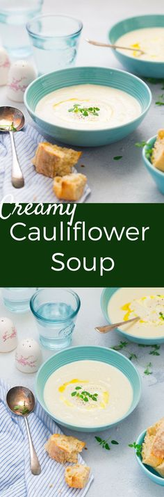{GLUTEN FREE} Serve this 30 MINUTES Creamy Cauliflower Soup with warm baguette during wintery months. How about making them for Christmas Meal too. Hearty, Healthy and Comforting !