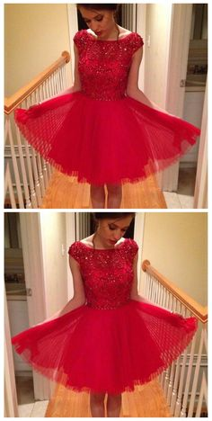 2017 Blush red modest sparkly with sleeve freshman casual homecoming prom dress,BD00105
