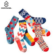408dc3589c437  COSPLACOOL  35-43 Coton Crew Socks pour les Femmes Hommes Rayures Vague  Fleur · ChevilleChaussettes ...