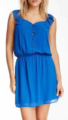 Collective Concepts Ruffle Sleeve Solid Button Dress