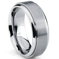 This stylish wedding band features a flat top beveled edge ring that is constructed of light weight