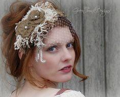 Rustic Veil / Bohemian Wedding / Headpiece / by GreenTrunkDesigns, $110.00