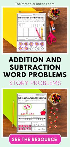 This no-prep, printable resource includes 40 addition and subtraction word problems to 10 and helps your kindergarteners visualize and explain their thinking.