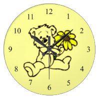 Teddy Bear Yellow Daisy Wall Clock