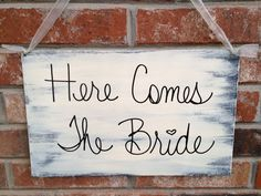 Shabby Chic Black and Ivory Here Comes The Bride Wedding Sign Ring Bearer or Flower Girl Sign on Etsy, $16.00