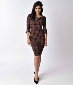 Top notch and wonderfully well-bred! The Carmen Dress is an elegant plaid fitted frock that gorgeously hugs your feminine form in a durable stretch knit, crafted in a sultry soft composition. A marvelously cowed V neckline, shoulder pleats, princess seams