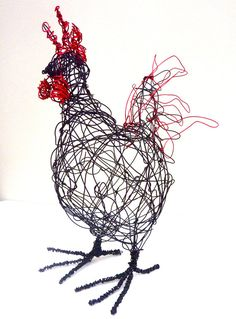 Wire Cockerel Sculpture PDF instructions and template by