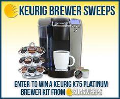 Win a Keurig K75 Platinum Brewer Kit