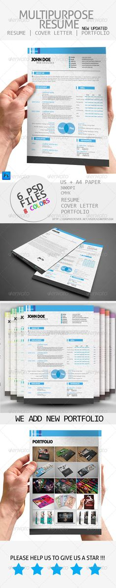 "Multipurpose Resume  #GraphicRiver         Multipurpose Resume is a creative resume for creative people, basically its a multipurpose resume.  	 File includes :  	 - 300DPI - CMYK - 0.25"" bleed - US + A4 paper - cover letter included - 8 Colors Options - 6 PSD Files"