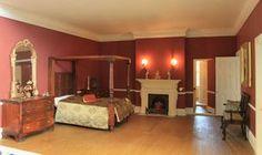 Georgian dolls house furnished interior: Wisbech House bedroom with jib door.