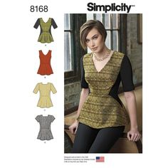 Misses' structured peplum top features bust darts and side panels that will make this top envied by all. Sew top with a unique high square neckline, or classic V-neck. Pattern also includes sleeveless, short, or half sleeve options. Simplicity sewing pattern.