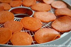 How to Dehydrate Sweet Potatoes with a dehydrator Sweet Potato Dog Treats, Sweet Potatoes For Dogs, Dehydrated Vegetables, Dehydrated Food, Veggies, Food Dog, Dog Food Recipes, Canning Food Preservation, Preserving Food