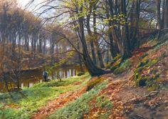 Underpaintings: Peder Mønsted (Danish, 1859-1941) Spring Landscape at Søby oil on canvas 27.5 X 39.5 in.