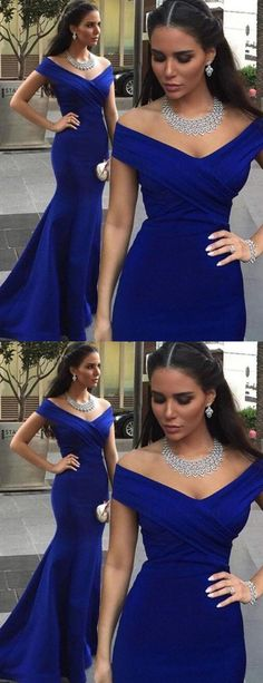 elelgant royal blue prom dress, fashion off the shoulder party dress, bodycon evening dress