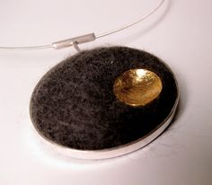 felted wool gold foil sterling silver pendant