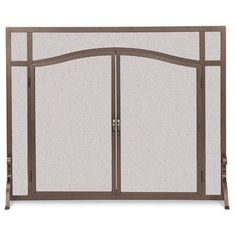 Pilgrim Forged Iron Door Screen Burnished Bronze Arched - Bronze(Shown). Also available in Matte Black & Vintage IronThese arched top, fully operable screen doors make it easy to access the fireplace. (Pilgrim Home and Hearth Model Fireplace Screens With Doors, Custom Fireplace Screens, Wire Mesh Screen, Fireplace Dimensions, Double Door Design, Small Fireplace, Fireplace Tools, Fireplace Hearth, Arched Doors