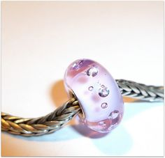 Luccicare Lampwork Bead - Pink Diamonds - Lined with Sterling Silver - Available in Small core or Universal core
