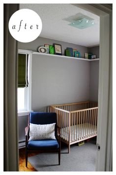 Fun shelving near the ceiling... good use of space and to add a little kick.