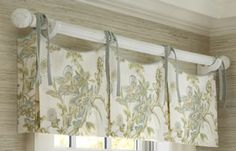 Valance idea for bay window/kitchen windows. Trying to figure out how they get sides of the valance to wrap around the corner and stay stiff. Valances & Cornices, Pelmets, Window Valances, Bathroom Windows, Kitchen Windows, Kitchen Curtains, Calico Corners, Custom Window Treatments, Window Styles