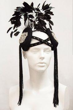 A latest creation - an art nouveau inspired headpiece with tassels and embroidered forehead bands. #FeatherHeadpiece #BlackFeatherHeaddress #ArtNouveauStyle #Tassels #SaraTiara #MadeInEngland #handmade #CoqueFeathers