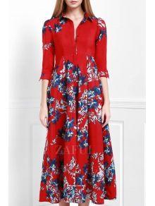Floral Turn Down Collar 3/4 Sleeve Maxi Dress