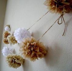 Burlap flowers for rustic wedding - DIY paper garland ideas, beach wedding decorations, 2014 valentine's day ideas  www.loveitsomuch.com