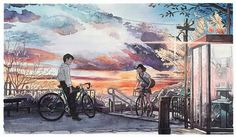 """單車男孩""""系列,日本插畫師Mateusz Urbanowicz以吉卜力電影工作室作品 <Whisper of the Heart>為靈感繪製,故帶有宮崎駿風格"""