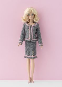"""Tulle skirts for Barbie Shopgirl dress for Barbie """"Chanel"""" purses for Barbie Red faux-leather suit Chanel s..."""
