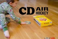 A simple DIY gross motor skills game. CD Air hockey uses a blank CD and a used cereal box to recreate this beloved arcade game that families will love. Homeschool Preschool Curriculum, Preschool At Home, Air Hockey, Gross Motor Skills, Toddler Activities, Children, Kids, Play, Business