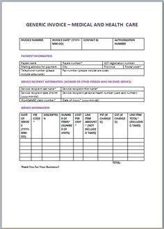 Medical Invoice Templates  Medical Invoice Template
