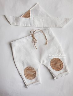 UK SELLER Newborn baby boy photography props handmade, photo prop - pants and boat hat white linen and light brown patches via Etsy