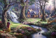 Disney Oil Paintings Thomas Kinkade Snow White door ThomasArtwork, $46.00