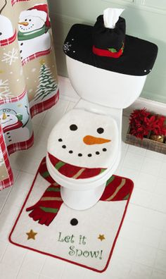 snow time country snowman bathroom commode set