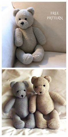 Knitting Toys Easy, Knitting Bear, Knitting Dolls Free Patterns, Knitted Dolls Free, Teddy Bear Knitting Pattern, Small Knitting Projects, Crochet Bear Patterns, Free Knitting, Crochet Dolls