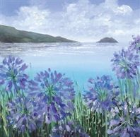Agapanthus Island by Judi Trevorrow. Canvas and framed prints available to buy priced from from Cornwall Art Galleries Seaside Art, Agapanthus, Sea Art, Seascape Paintings, Art For Art Sake, Art Gallery, St Ives, Ocean Views, Canvases