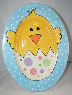 Easter Chick Plate or Serving Platter - Blue Trim.