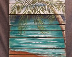 Handpainted Beach Scene, Seascape horizon, ocean and sky, Distressed, Adirondack chair, Reclaimed Wood Pallet Art, Rustic and Shabby Chic  This picture is of the original painting on reclaimed fencing and pallet wood. Dimensions: 30 x 40  The Adirondack chair, sitting on the beach, surrounded by beach grasses, overlooks the seascape with 3 birds flying in the distance. It has been slightly aged by sanding areas and the edges.  This would be an interesting, personal touch to your cottage…