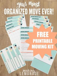 Woah, this FREE printable moving kit is chock full of printables and checklists . Woah, this FREE printable moving kit is chock full of printables and checklists for an organized move. Print, add to your binder, and have the most organized move ever! Moving House Tips, Moving Kit, Moving Home, Moving Hacks, Moving House Checklist, Camping Checklist, Moving Binder, Moving Planner, Happy Planner