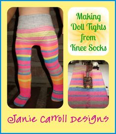 Free Tutorial: Making Doll Tights from Adult Size Knee Sox – Janie Carroll Des… American Girl Outfits, American Girl Diy, American Doll Clothes, Sewing Doll Clothes, Baby Doll Clothes, Crochet Doll Clothes, Sewing Dolls, Ag Dolls, Girl Dolls