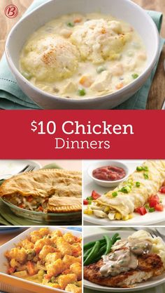 Forget the drive-through, you can turn out a great dinner for less with these chicken recipes that are easy to make and easy on the wallet. For $10, you can have juicy, slow-cooked garlic chicken or a perfectly cheesy chicken casserole your whole family will love!